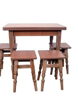 Кухонный комплект, обеденный стол+4 табурета резные ножки В НА...