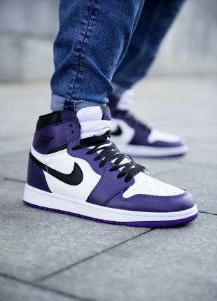 Кроссовки Nike Air Jordan 1 Retro White/Violet/Black