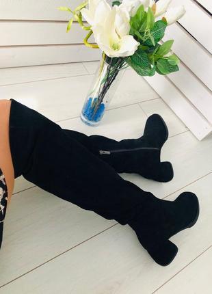 Женские сапоги ботфорты натуральная замша на каблуке