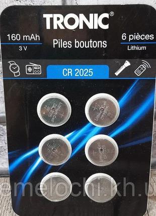 Батарейки Tronic CR2025, 160 mAh, 3V