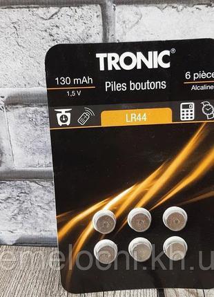 Батарейки Tronic LR44, 130 mAh, 6 штук