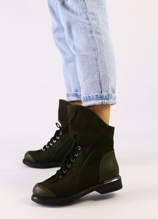 Женские демисезонные нубуковые ботинки натуральные оливковые з...