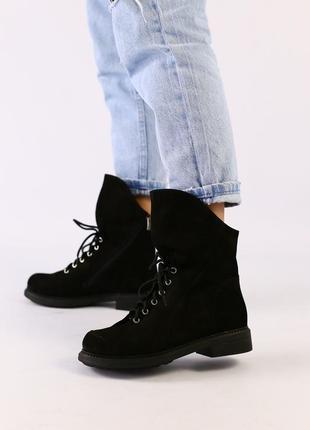 Женские демисезонные нубуковые ботинки натуральные черные на ш...