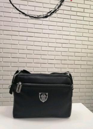 Кожаная мужская сумка горизонтальная черная