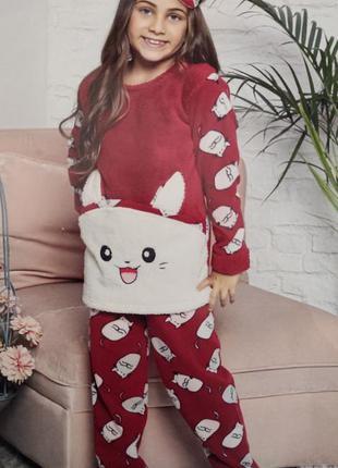 Пижама детская и подросток девочка махра флисс с вышивкой коти...