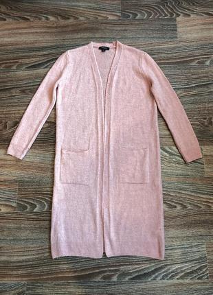Розовая вязаная длинная кофта кофточка кардиган с карманами от...