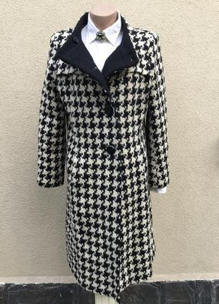 Пальто в гусиную лапку,большой размер,64%шерсть