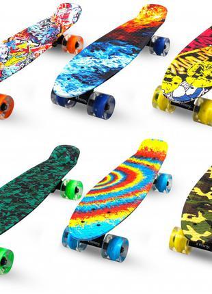 Пенни борд скейт пени борд penny board пенниборд светятся колеса