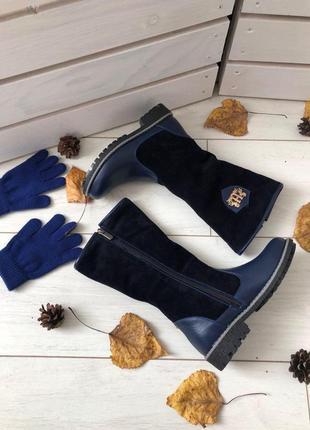 Зимние синие сапоги из замши и кожи