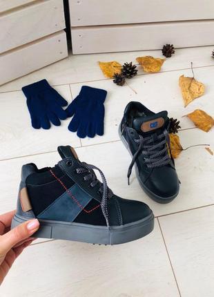 Зимние ботинки синего цвета