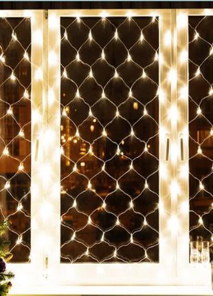 Гирлянда новогодняя на окно Xmas Сетка 1 х 1.5 м Теплый белый .