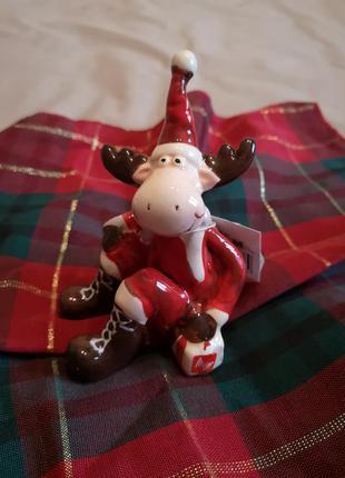 Керамический олень статуэтка новогодний декор
