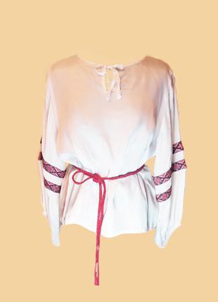 Блуза в українському етно стилі, розмір XXL + шкіряний пояс