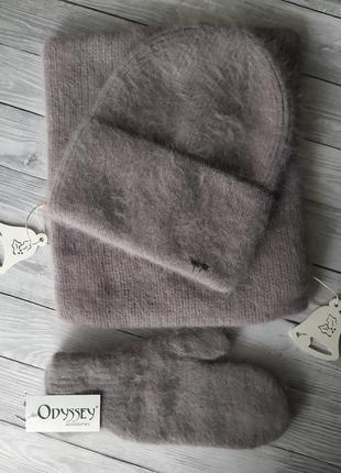 Ангоровая шапка!комплект шапка и варежки!зимова шапка одисей!ш...
