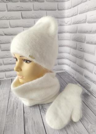 Шапка и варежки одиссей!шапка бини!шапка ангоровая!шапка зимов...