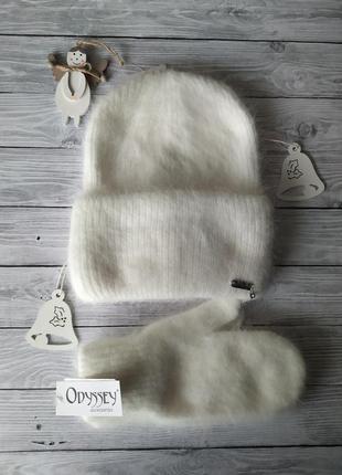 Шапка и варежки молочные!шапка зимова!шапка с отворотом!шапка ...