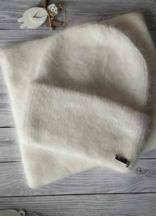Шапка ангоровая одиссей!шапка зимова!шапка и варежки!шапка и баф!