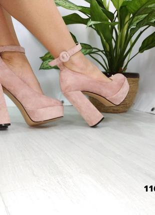Женские замшевые туфли на платформе и высоком каблуке с ремешком