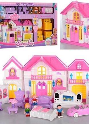 Домик для кукол, мебель, фигурки, машина, звук, свет