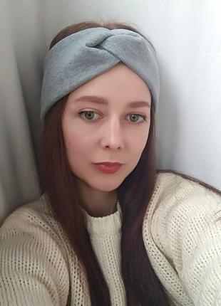 Повязка на голову серая женская чалма для волос на флисе