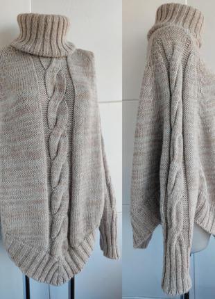 Теплый шерстяной свитер -пончо replay с вязкой косы меланжевог...