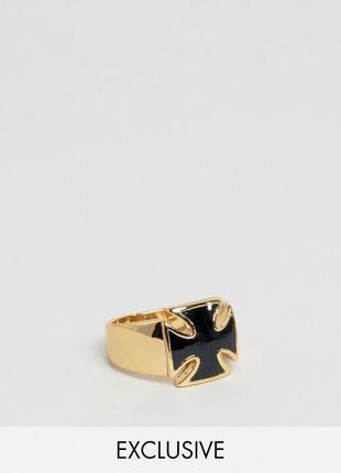 1+1=3 до 30/11 кольцо с черным камнем в форме креста reclaimed...