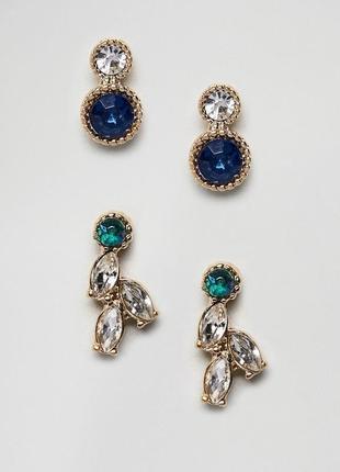2 пары серег-гвоздиков с камнями asos сережки бижутерия