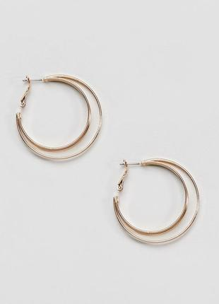 1+1=3 до 15/07 двойные серьги‑кольца new look сережки бижутери...