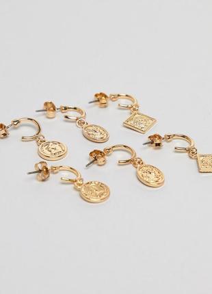 Набор из 3 пар сережек‑колец monki sovereign asos сережки бижу...