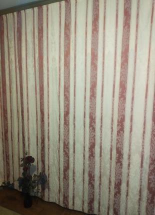 Шторы портьеры с гобеленовым орнаментом  молочного цвета в полосы