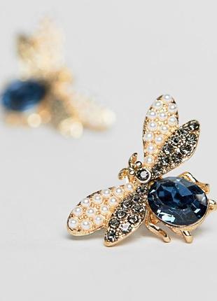 1+1=3 до 15/07 золотистые серьги в виде жука с камнем и искусс...