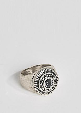 1+1=3 до 15/07 кольцо-печатка с искусственным черным камнем as...