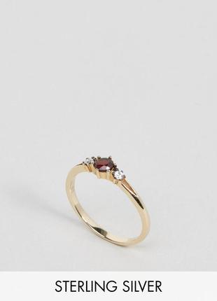 Кольцо с позолотой 18 кт и красным камнем regal rose бижутерия...