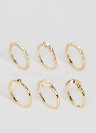 1+1=3 до 15/07 набор из 6 колец с полумесяцем и камнями asos б...