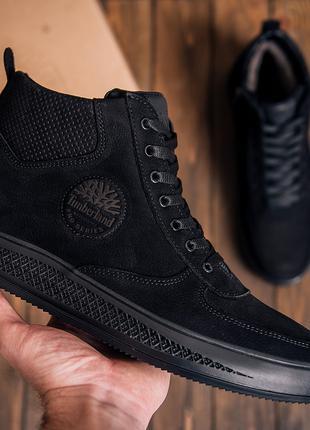 Мужские зимние кожаные ботинки Timberland  Black Нубук