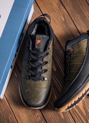 Мужские  зимние кожаные кроссовки  Fila Olive Classic Оливковые