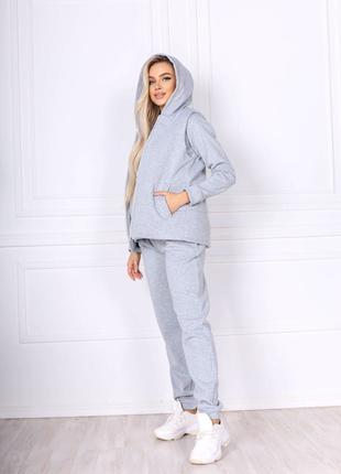 Женский теплый спортивный костюм тройка штаны, кофта, жилетка