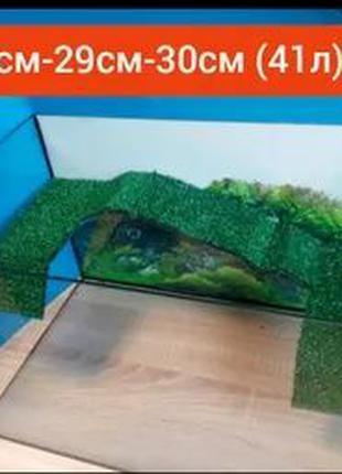 Новый террариум ( аквариум) с длинным мостиком для черепахи.До...