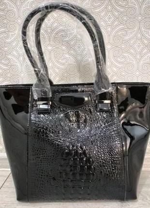 """Кожаная черная большая женская сумка шоппер 2019 """"alligator"""" л..."""