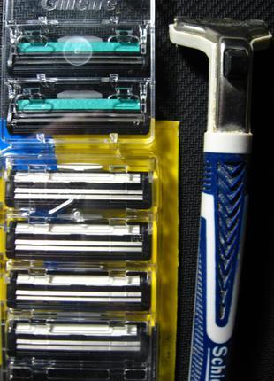Кассета на бритвенный станок 2 лезвия, листочек, полоска, schick