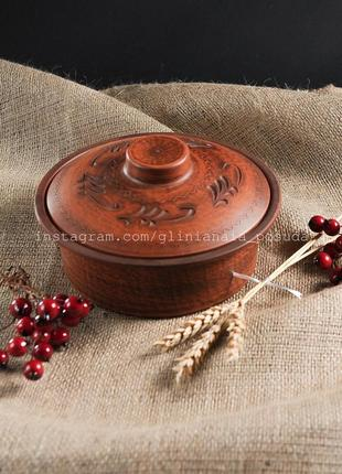 Кастрюля глазированная из красной глины глиняная посуда жаровн...