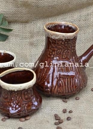 Турка из белой глины турки глиняные набор с чашками кофейный д...