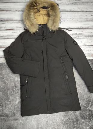 Мужская зимняя куртка аляска avecs с мехом черная 52 размер