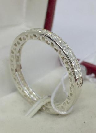 Новое родированое серебряное кольцо фианиты серебро 925 пробы