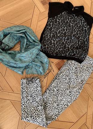 Комплект набор леопард, шарф, футболка, брюки, l-xl, джинсы, v...