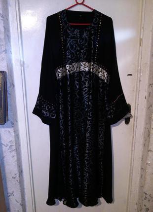 Нарядное,длинное платье-трапеция,большого размера