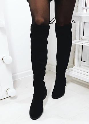 Женские замшевые сапоги ботфорты на низком каблуке,высокие чёр...