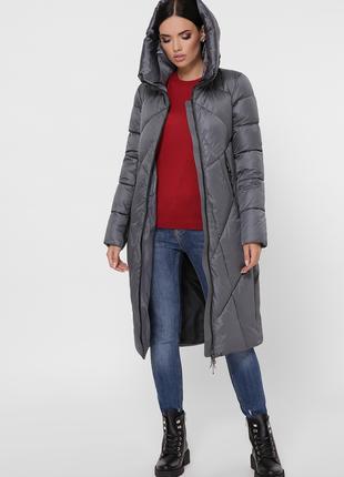 Куртка удлиненная женская с капюшоном размеры: 42-52 код G-9120