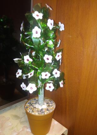 Цветущее дерево из пластиковых бутылок-высота 41 см-поделка,декор