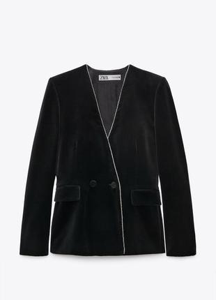 Zara limited edition бархатный жакет с стразами